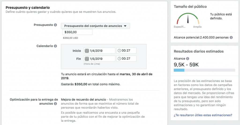 Ejemplo Alcance Potencial Facebook